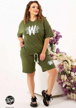 Трикотажный комплект из футболки и шорт