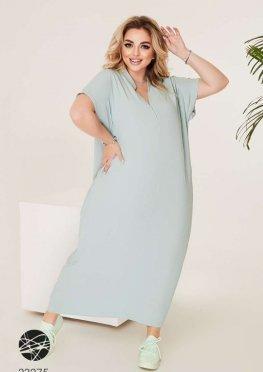 Льняное платье-футболка макси