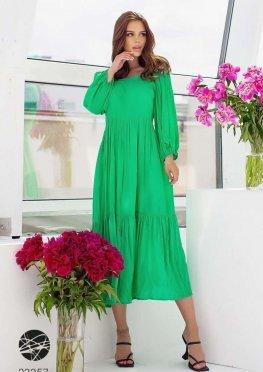Ярусное платье с объёмными рукавами