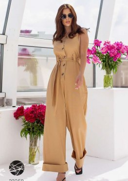 Льняной комбинезон с брюками-палаццо