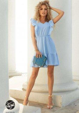 Платье мини с отделкой оборками