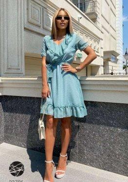 Шифоновое платье мини с оборками