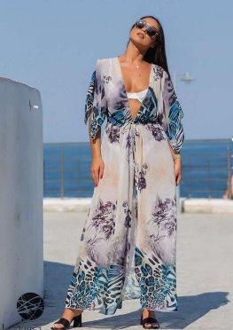 Пляжная накидка макси с рукавами-кимоно
