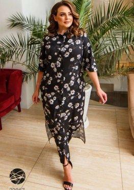 Платье-рубашка миди с боковыми разрезами
