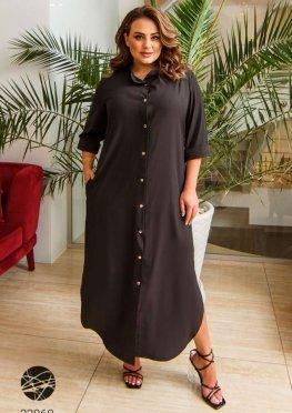 Сукня-сорочка міді з боковими розрізами