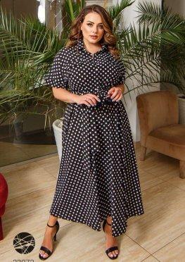 Платье-рубашка миди с принтом в горох