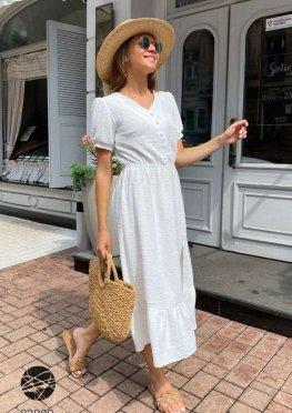 Платье миди с оборкой
