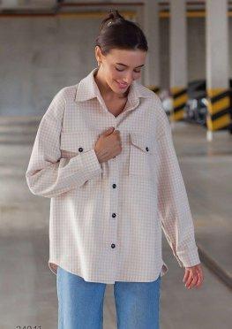Кашемировая рубашка с узором гусиная лапка