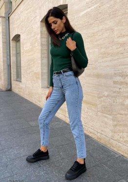 Выбеленные джинсы мом с завышенной талией