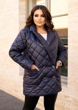 Двубортная стеганная куртка-блейзер