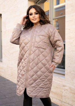 Стеганное пальто миди