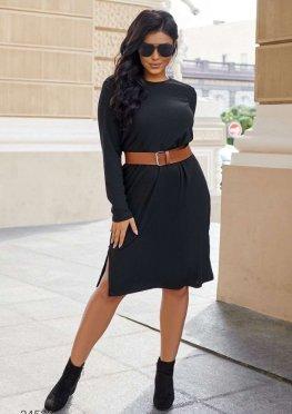 Платье-свитшот в рубчик в комплекте с ремнем