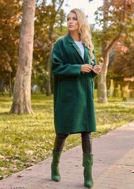 Пальто миди с накладными карманами
