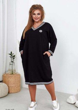 Платье-свитшот с контрастной окантовкой