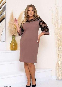 Платье-футляр с рукавами из сетки