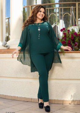 Костюм-тройка из блузы, шифонового кардигана и брюк