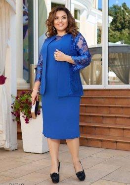 Комплект из платья-футляр и жакета с вышивкой