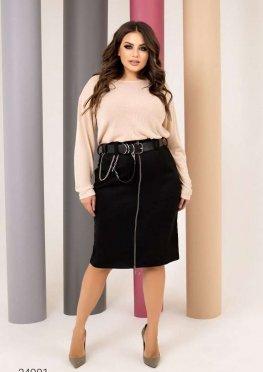 Комплект из джемпера и замшевой юбки-карандаш