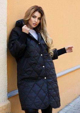 Стёганное пальто с капюшоном