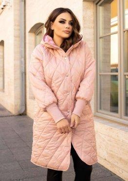Стьобане пальто з капюшоном