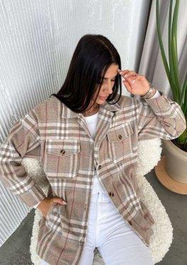 Шерстяная куртка-рубашка с принтом в клетку