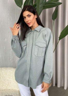 Шерстяная рубашка с накладными карманами