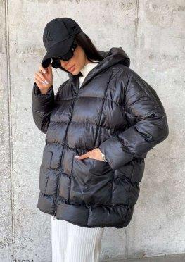 Дутая куртка оверсайз с капюшоном