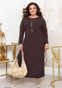 Трикотажное платье макси с ожерельем в комплекте