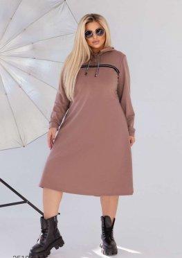 Трикотажное платье миди с капюшоном