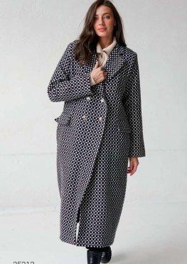 Двубортное пальто миди с геометрическим принтом