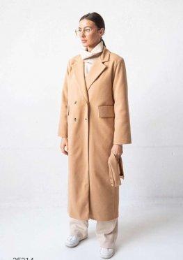 Двубортное пальто миди с поясом