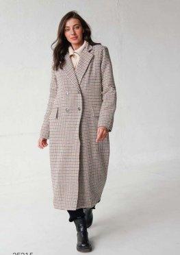 Двубортное пальто миди с узором гусиная лапка