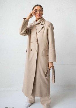 Двубортное пальто миди с узором ёлка
