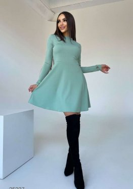 Платье мини в рубчик