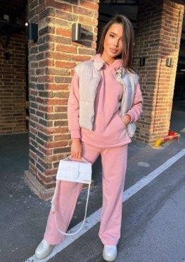 Трикотажный костюм из худи и брюк-палаццо