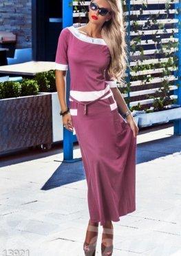 Трикотажное длинное платье