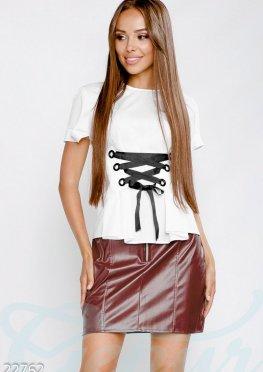 Блуза контрастная шнуровка