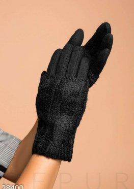 Шерстяные перчатки-митенки