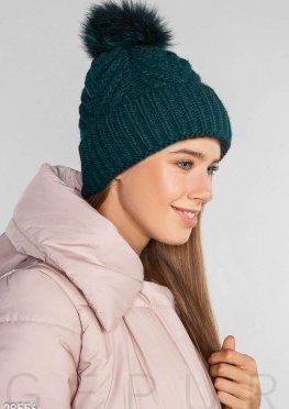 Теплая шапка-косичка