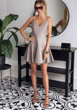 Кожаное платье на бретелях