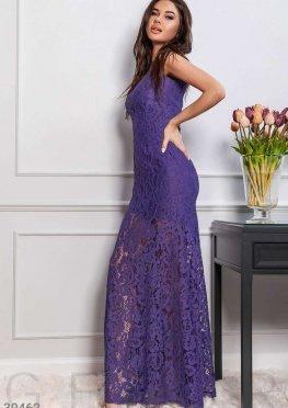 Длинное платье из гипюра
