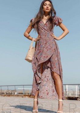 Асимметричное цветочное платье