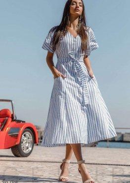 Полосатое платье из хлопка
