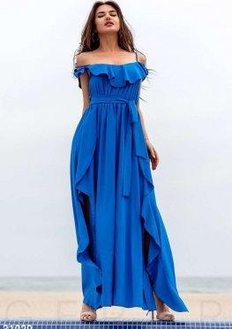Длинное платье с воланом