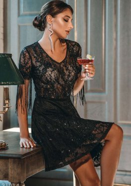 Платье с бахромой на рукавах