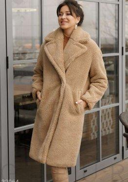 Меховое пальто бежевого цвета