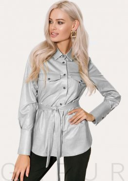 Серебристая женская рубашка