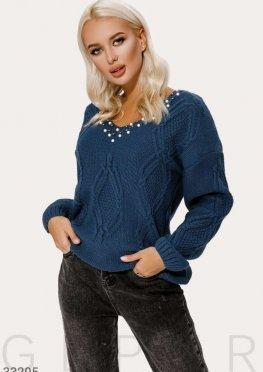 Пуловер синего цвета