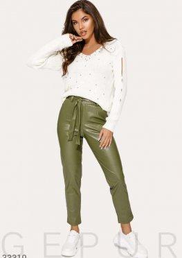 Кожаные брюки оливкового оттенка