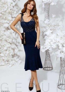 Платье-бюстье синего цвета